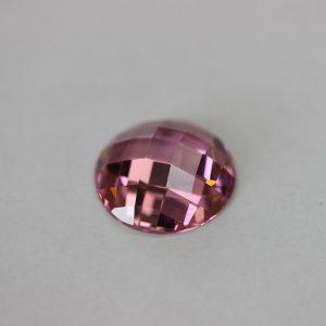 Циркон кръг, 18.00мм, цвят розов, плосък , шлайф чиис
